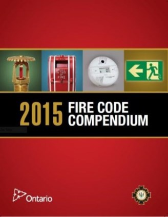 Red front cover of Ontario Fire Code Book
