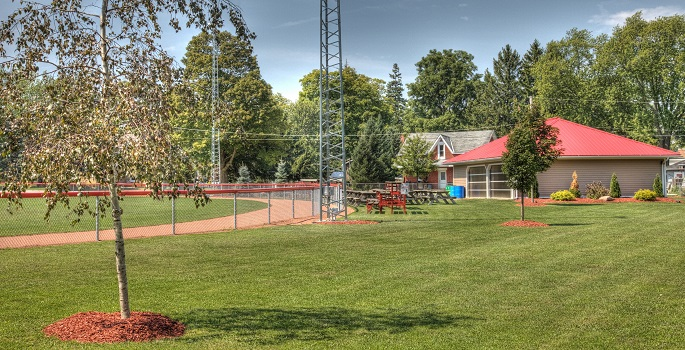 Picture of Brussels park with baseball diamond and pavillion